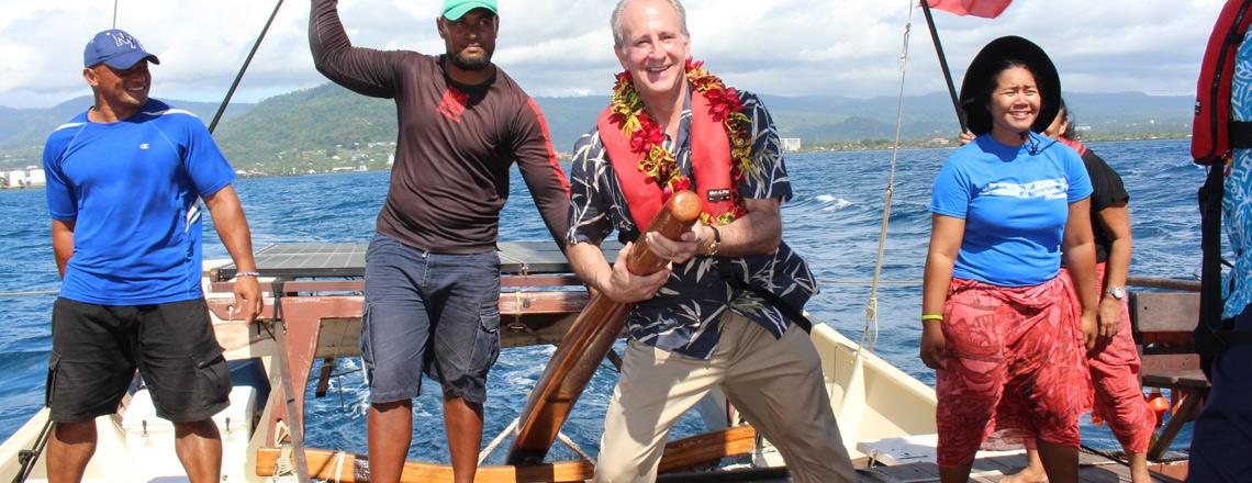 Gaualofa welcomes U.S. Ambassador onboard.