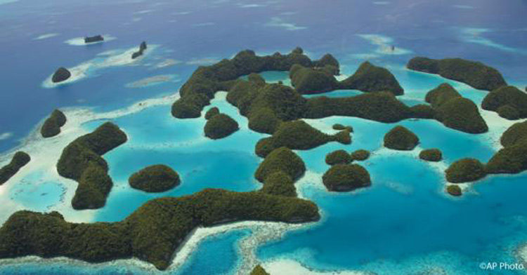 An aerial view of Palau, a Pacific archipelago made-up of more than 250 islands. Photo credit: AP.