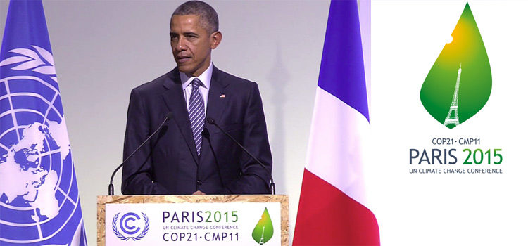 President Barack Obama delivers remarks during the COP21, United Nations Climate Change Conference, in Le Bourget, outside Paris, on Monday, Nov. 30, 2015 [AP Photo].