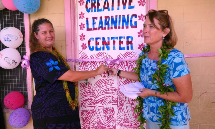 Chargé d'Affaires, Angelina Wilkinson and Peace Corps Country Director Sherry Russel cut the ribbon to officially open the Creative Learning Center. Photo credit: U.S. Department of State.