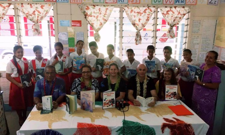 Lepea Primary school prefects with representatives from the Ministry of Educations, Sports and Culture, Lepea Primary School committee, U.S. Embassy and Rotary Club of Apia. Photo credit: U.S. Embassy Samoa.