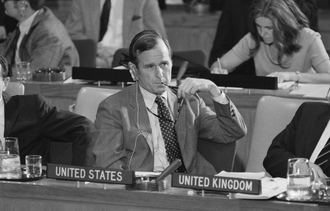 George H.W. Bush, U.S. ambassador to the United Nations, listens to a speaker during a 1971 session of the U.N. General Assembly in New York. (© Bettmann/Getty Images)