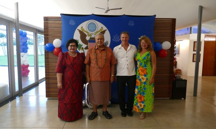 (L-R) Masiofo Faamausili, His Highness Tuimalealiifano Vaaletoa Sualauvi, Ambassador Scott Brown and Mrs Gail Brown